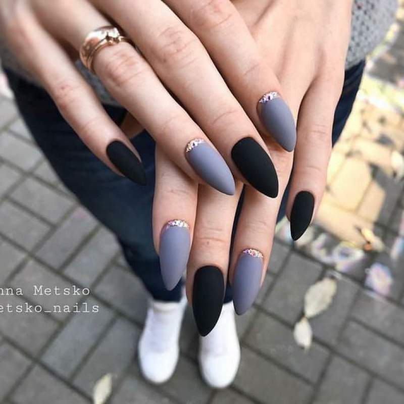 Dark Purple Acrylic Nails Almond Nail And Manicure Trends