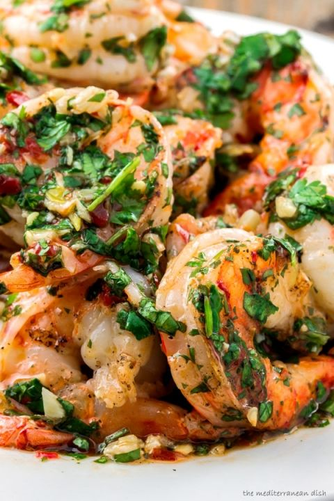 Grilled shrimp with roasted garlic cilantro sauce