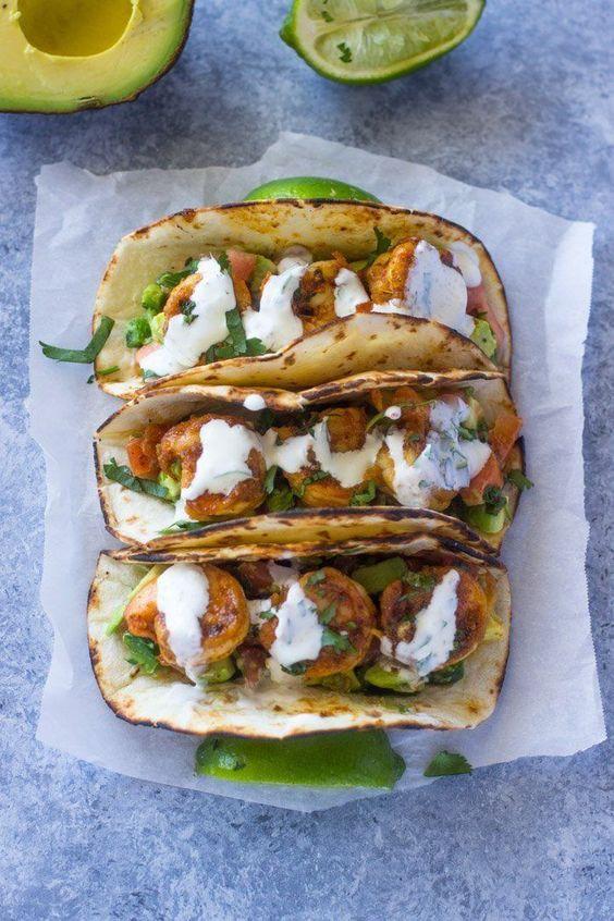 Spicy Shrimp Tacos with Avocado Salsa Sour Cream Cilantro Sauce