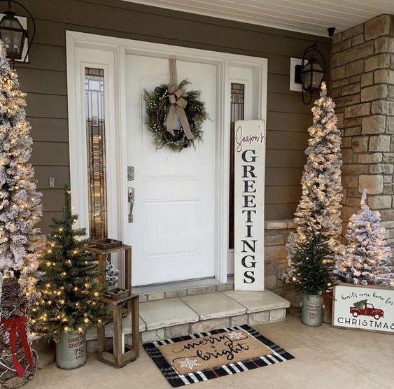 50 Christmas Front Porch Decor Ideas