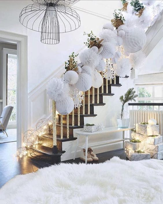 100 Awesome Christmas Stairs Decoration Ideas: 100 White Christmas Decor Ideas Which Are Effortlessly